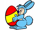 2d illustration of an Easter bunny with an egg poster