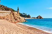 Statue of Minerva on the embankment of Tossa de Mar Costa Brava Catalonia Spain poster