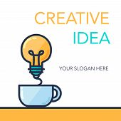 Simple Creative Success Idea Banner. Innovation symbol. Light bulb and cup. Design element for business startup technology science. Concept of invention study imagination and creativity. Vector poster