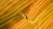Harvester machine working in field . Combine harvester agriculture machine harvesting golden ripe wheat field. Agriculture. Aerial view. From above. poster