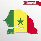Senegal map with flag inside and ribbon poster