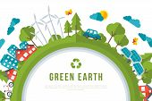 Eco Friendly, Green Energy Concept Frame. Vector Illustration. Solar Energy Town, Wind Turbines, Electric Cars. Save the Planet and Go Green Idea. Earth Day. poster
