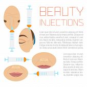 Beauty facial injections design template with place for text. Anti-ageing therapy process for facelift and wrinkles. Female rejuvenation treatment infographics. Vector illustration. poster