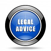 legal advice blue glossy icon poster