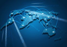 Global network connection. Global traffic communication networking connection concept.