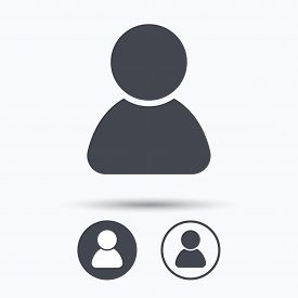 User icon. Human person symbol. Avatar login sign. Circle buttons with flat web icon on white background. Vector