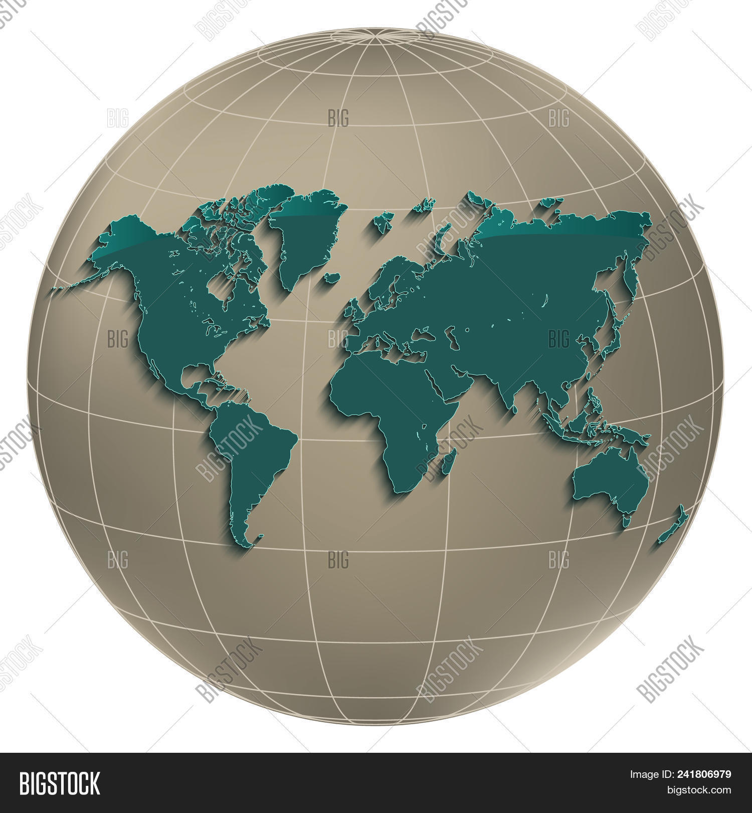 Geographic Map Of Earth.World Map Earth Globus Image Photo Free Trial Bigstock