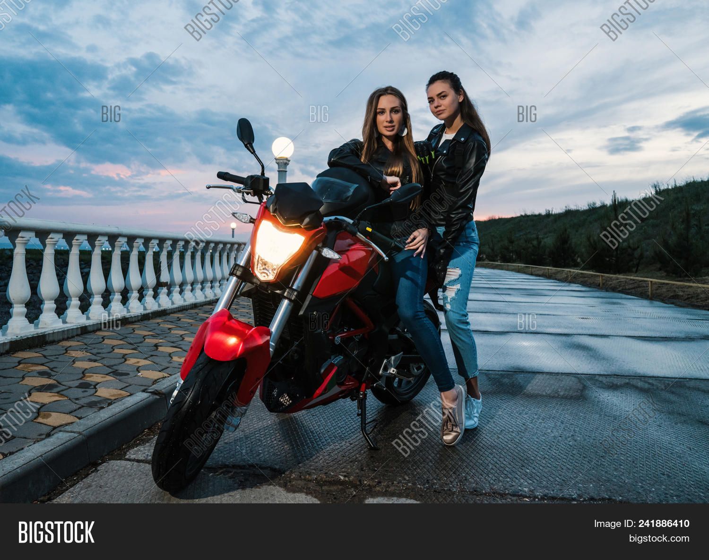 Two Biker Girls Image Photo Free Trial