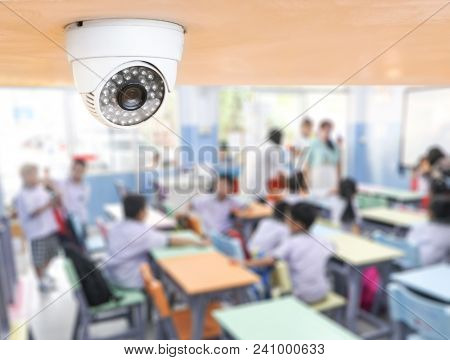 Cctv Security Monitoring Student In Classroom At School.security Camera Surveillance For Watching An