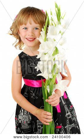 Happy   Little  Girl  With White Flowers.