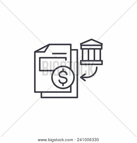 Bank Statements Line Icon, Vector Illustration. Bank Statements Linear Concept Sign.