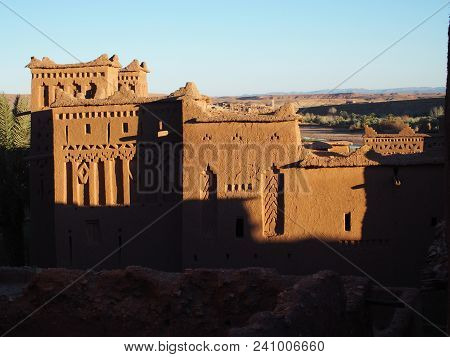 Focus On Kasbah Ait Ben Haddou Or Benhaddou Fortified City With Evening Sun Light On Walls, African