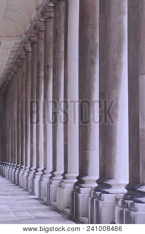 A Line Up Of Beautiful Columns In Naval College Of Greenwich, England