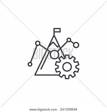 Benchmark Figures Line Icon, Vector Illustration. Benchmark Figures Linear Concept Sign.