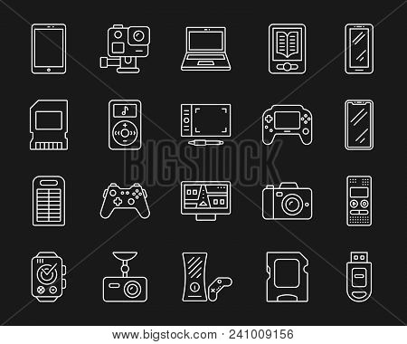 Device Thin Line Icons Set. Outline Monochrome Web Sign Kit Of Gadget. Electronics Linear Icon Colle
