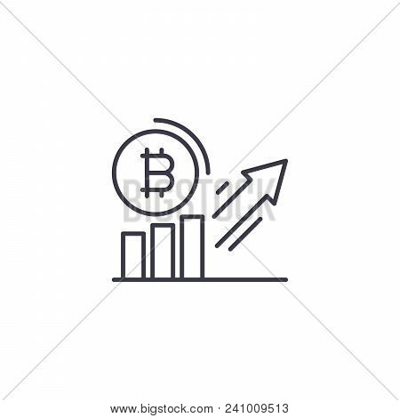 Bitcoin Demand Increase Line Icon, Vector Illustration. Bitcoin Demand Increase Linear Concept Sign.
