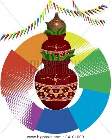 Festival Design Divine Mangal Kalash with coconut