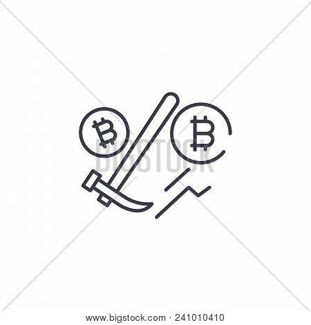 Bitcoin Mining Line Icon, Vector Illustration. Bitcoin Mining Linear Concept Sign.