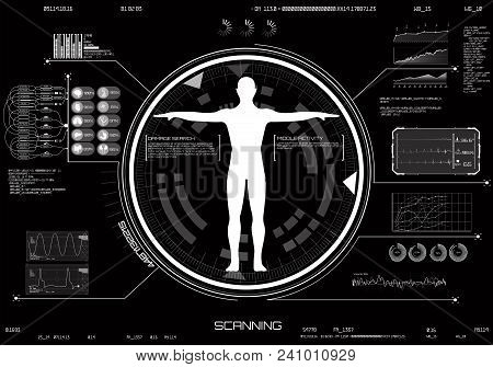 Medical Infographic Hud Ui. Concept Of Body Scanning. Medical Infographic Set With Charts And Other