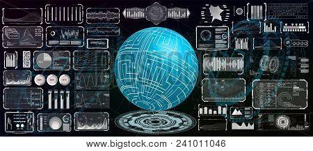 Futuristic Interface Hud Design For Business App. Abstract Technology, Concept Futuristic Sci-fi Use