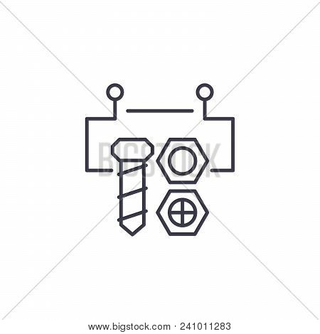 Block Circuit Line Icon, Vector Illustration. Block Circuit Linear Concept Sign.