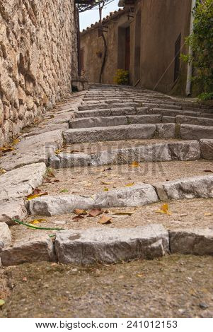 Uphill Steps Along A Path In A Street Of Perugia City