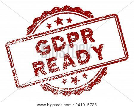 Gdpr Ready Rubber Stamp Seal. Vector Element With Distress Style And Retro Texture In Red Color. Des