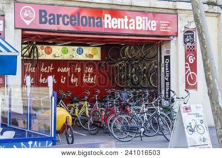 Barcelona, Spain - February 09, 2017  -  Rent A Bike Store In Barcelona