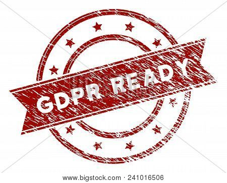 GDPR Ready rubber stamp seal. Vector element with distress style and corroded texture in red color. Designed for overlay watermarks and distressed seal imprints. poster
