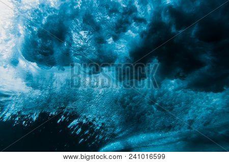 Wave Underwater. Blue Tropical Sea In Underwater
