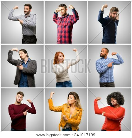 Group of mixed people, women and men pointing biceps expressing strength and gym concept, healthy life its good