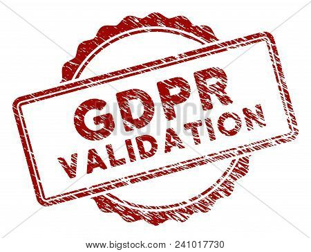 GDPR Validation rubber stamp seal. Vector element with distress design and dust texture in red color. Designed for overlay watermarks and distressed seal prints. poster