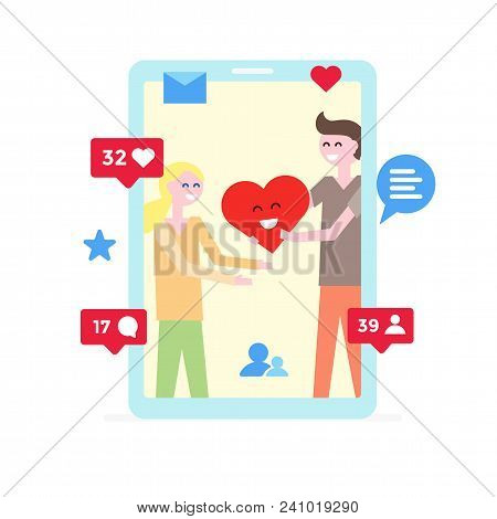 Virtual Love. Online Dating App Concept With Boy And Girl Who Chating And Falling In Love. Online Lo