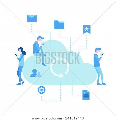 Social Media Network Communication People. Illustration Of Young People Using Devices Laptop And Sma