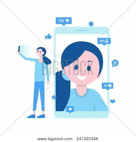 Cartoon Girl Taking Selfie On Smartphone, Video Call, Life Translation. Social Media Concept. Many L
