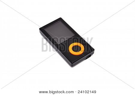 mp3 player black on a white background poster