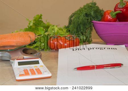 Concept Of Diet. Low-calorie Fruit Diet. Diet For Weight Loss. Plate With Measuring Tape And Vegetar