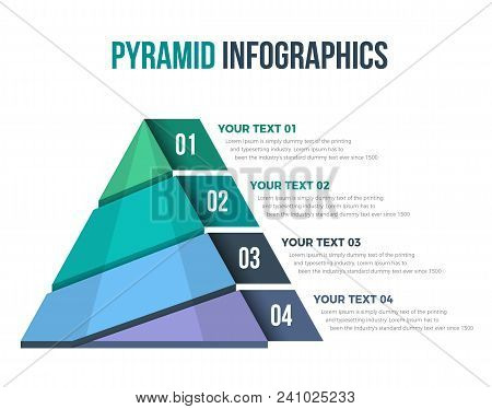 Pyramid Infographics With 04 Steps. You Can Used It All Of Your Business Purposes. You Can Change Al