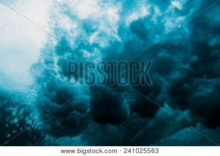 Ocean Wave Underwater. Blue Ocean In Underwater