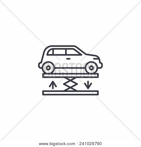 Car Lift Line Icon, Vector Illustration. Car Lift Linear Concept Sign.
