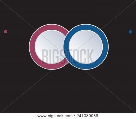 Template Infographic Circles Diagram 2 Positions On Black Background. Coloured Rings Are Located On