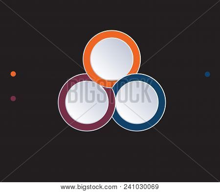 Template Infographic Circles Diagram 3 Positions On Black Background. Coloured Rings Are Located On