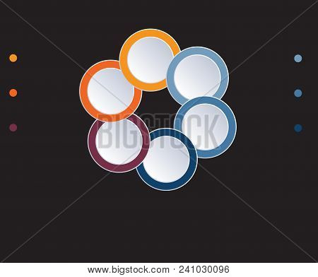 Template Infographic Circles Diagram 6 Positions On Black Background. Coloured Rings Are Located On