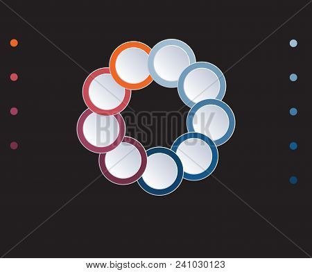Template Infographic Circles Diagram 9 Positions On Black Background. Coloured Rings Are Located On