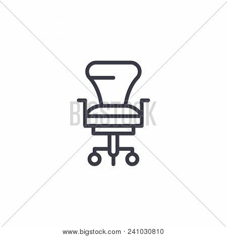 Ceo Office Chair Line Icon, Vector Illustration. Ceo Office Chair Linear Concept Sign.