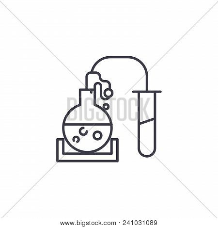 Chemical Reaction Line Icon, Vector Illustration. Chemical Reaction Linear Concept Sign.
