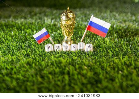 Barcelona, Spain, May 2018: Fifa World Cup Concept Illustrative Editorial. Golden Trophy, Russian Fl
