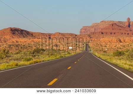 The Way Toward Monument Valley Navajo Tribal Park. Rock Formations In The Background. Utah, Arizona,