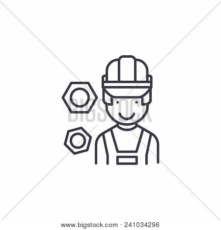 Construction Professional Worker Line Icon, Vector Illustration. Construction Professional Worker Li