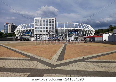 Olympic Stadium. April 5, 2018. Kiev. Ukraine. Olympic Nsc. Preparing To Final League Champions Leag